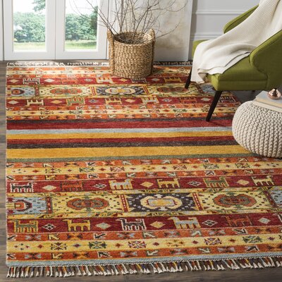 Russell Hand Hooked Yellow Area Rug� Rug Size: Rectangle 8 x 10
