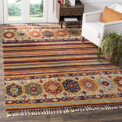 Thalia Hand Hooked Wool Yellow Area Rug� Rug Size: Rectangle 8 x 10