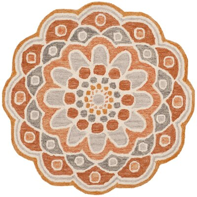 Coral Springs Hand Hooked Wool Orange Area Rug� Rug Size: Round 4