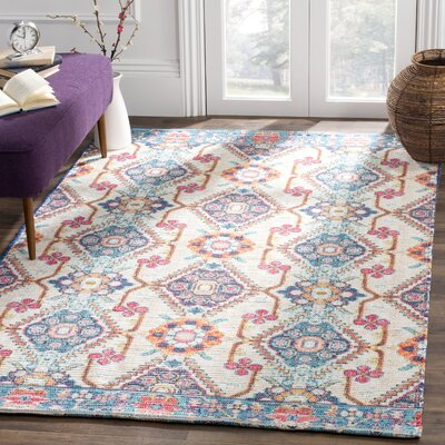 Abington Hand Tufted Cotton Cream/Blue Area Rug� Rug Size: Rectangle 4 x 6