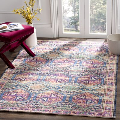 Abington Hand Tufted Cotton Purple/Blue Area Rug� Rug Size: Rectangle 4 x 6