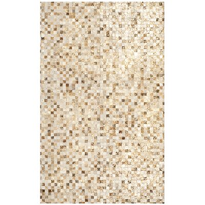 Atchley Leather Hand Tufted Ivory Area Rug Rug Size: Rectangle 8 x 10