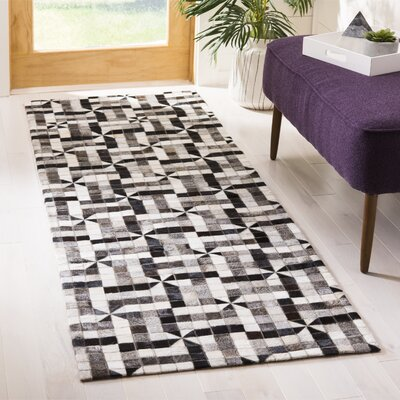 Patricio Leather Hand Tufted Gray Area Rug Rug Size: Runner 23 x 7