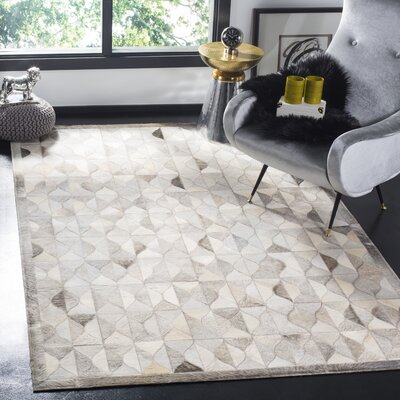 Wylie Leather Hand Tufted Gray Area Rug Rug Size: Rectangle 3 x 5