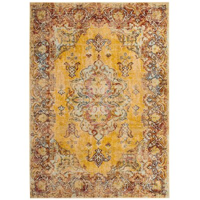 Mcintosh Boho Yellow Area Rug� Rug Size: Round 7
