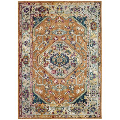 Mcintosh Orange/Blue Area Rug� Rug Size: Rectangle 51 x 76