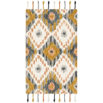 Niederanven Boho Hand Tufted Wool Ivory/Yellow Area Rug Rug Size: Rectangle 3' x 5'