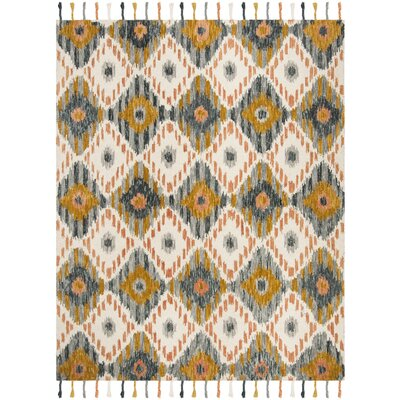 Niederanven Boho Hand Tufted Wool Ivory/Yellow Area Rug Rug Size: Rectangle 5 x 8