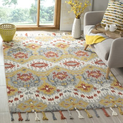 Niederanven Hand Tufted Wool Gray/Yellow Area Rug Rug Size: Rectangle 5 x 8
