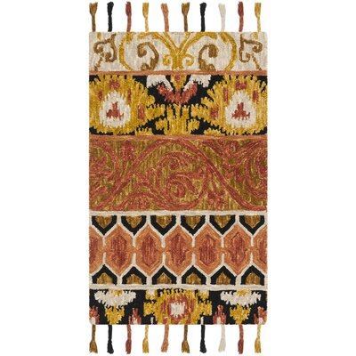 Niederanven Hand Tufted Wool Rust/Yellow/Black Area Rug Rug Size: Runner 23 x 8