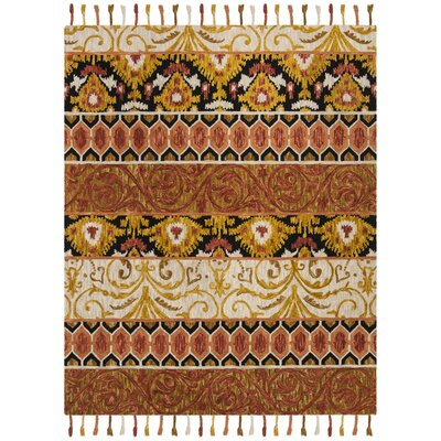 Niederanven Hand Tufted Wool Rust/Yellow/Black Area Rug Rug Size: Rectangle 5 x 8
