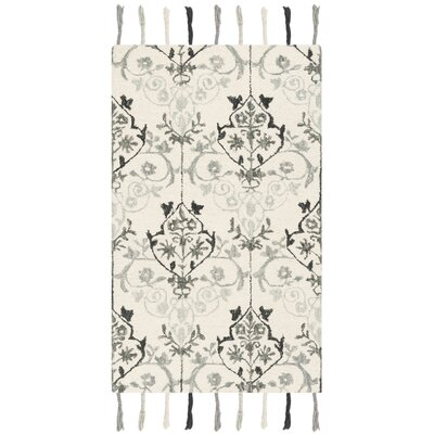 Niederanven Hand Tufted Wool Ivory/Gray Ikat Area Rug Rug Size: Rectangle 3 x 5