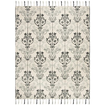 Niederanven Hand Tufted Wool Ivory/Gray Ikat Area Rug Rug Size: Rectangle 5 x 8