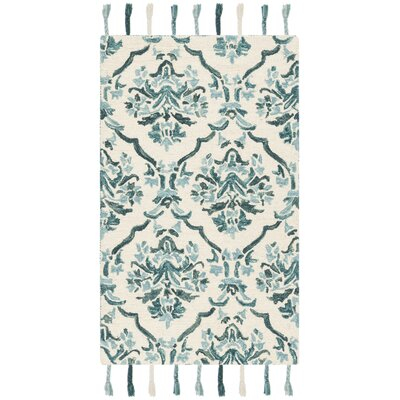Niederanven Hand Tufted Wool Ivory/Green Area Rug Rug Size: Rectangle 3 x 5