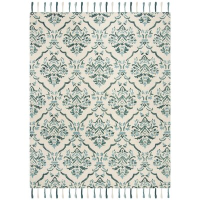 Niederanven Hand Tufted Wool Ivory/Green Area Rug Rug Size: Rectangle 5 x 8