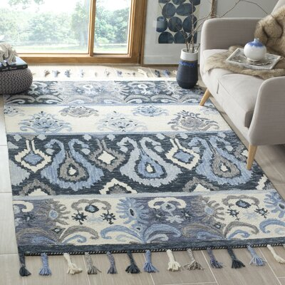 Niederanven Hand Knotted Wool Blue Area Rug Rug Size: Rectangle 5 x 8