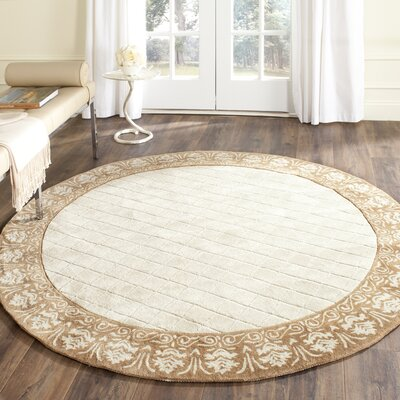 Caine Hand Tufted Ivory Area Rug Rug Size: Round 8