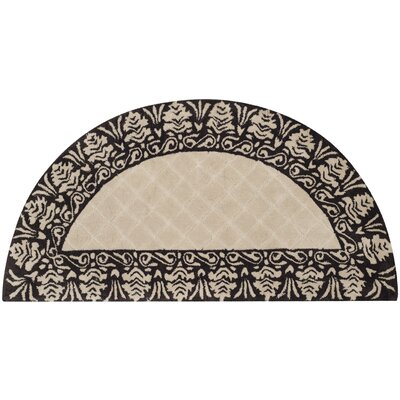Caine Hand Tufted Ivory/Chocolate Bordered Area Rug Rug Size: Semi Circle 2 x 4