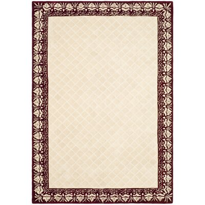 Caine Glam Hand Tufted Ivory/Red Bordered Area Rug Rug Size: Rectangle 6 x 9