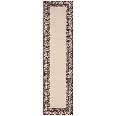 Caine Glam Hand Tufted Ivory/Red Bordered Area Rug Rug Size: Runner 23 x 9