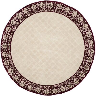 Caine Glam Hand Tufted Ivory/Red Bordered Area Rug Rug Size: Round 6