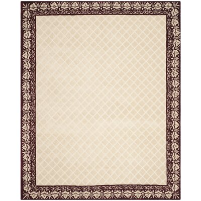 Caine Glam Hand Tufted Ivory/Red Bordered Area Rug Rug Size: Rectangle 8 x 10