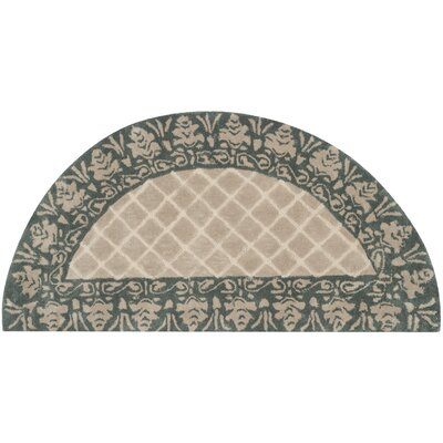 Caine Hand Tufted Ivory/Green Area Rug Rug Size: Semi Circle 2 x 4