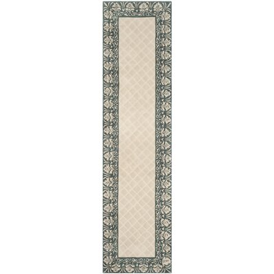 Caine Hand Tufted Ivory/Green Area Rug Rug Size: Runner 23 x 9