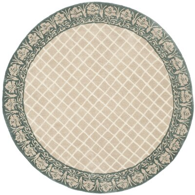 Caine Hand Tufted Ivory/Green Area Rug Rug Size: Round 6
