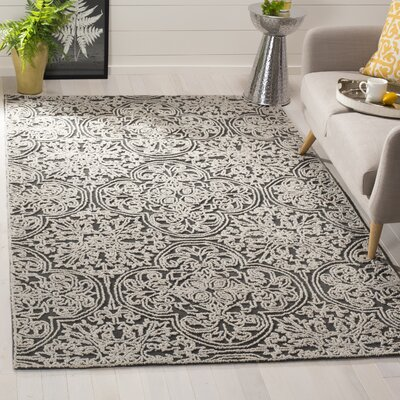 Dansk Hand Tufted Wool Dark Gray Area Rug Rug Size: Round 6