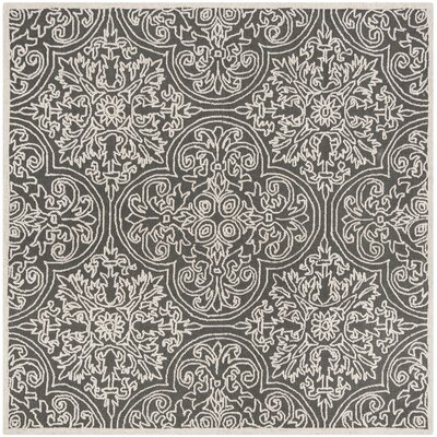 Marys Hand Tufted Wool Dark Gray Area Rug Rug Size: Square 6