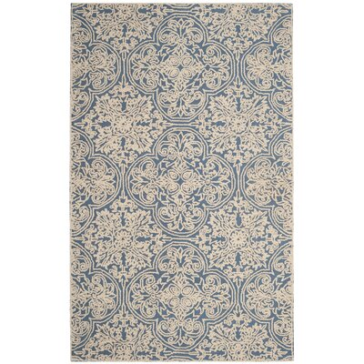 Dansk Rustic Hand Tufted Wool Blue Area Rug Rug Size: Rectangle 5 x 8