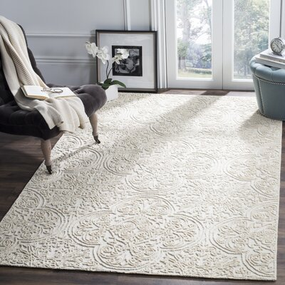 Marys Rustic Hand Tufted Wool Ivory Area Rug Rug Size: Rectangle 5 x 8