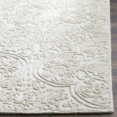 Dansk Rustic Hand Tufted Wool Ivory Area Rug Rug Size: Rectangle 8 x 10