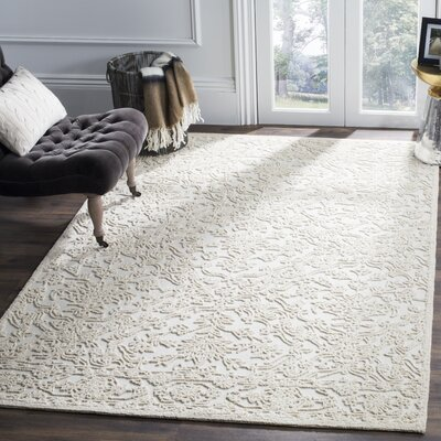 Dansk Hand Tufted Wool Ivory Area Rug Rug Size: Rectangle 8 x 10
