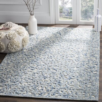 Dansk Hand Tufted Wool Blue Area Rug Rug Size: Rectangle 4 x 6