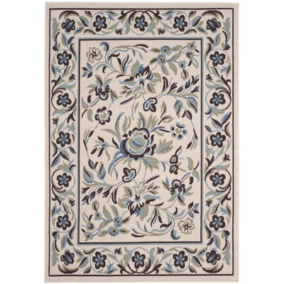 Calandre Cream/Blue Area Rug Rug Size: Rectangle 5 x 7