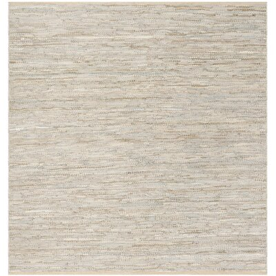 Glostrup Contemporary Hand Tufted Beige Leather Area Rug Rug Size: Square 6