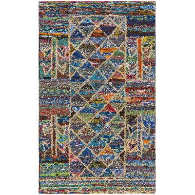 Mueller Hand Tufted Cotton Blue/Pink/Yellow Geometric Area Rug Rug Size: Rectangle 3 x 5