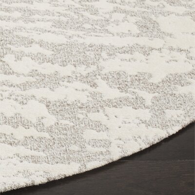 Marbella Hand-Woven Gray/Beige Area Rug Rug Size: Round 6