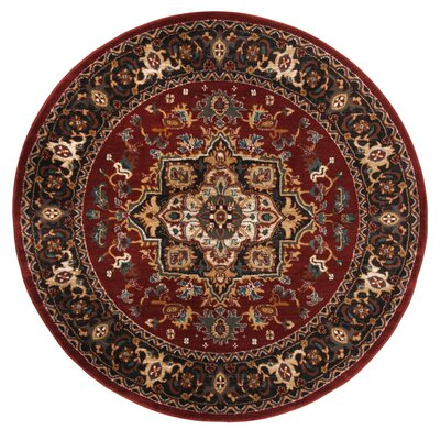 Lowe Red/Beige Area Rug Rug Size: Round 4