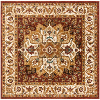 Lowe Red/Ivory Area Rug Rug Size: Square 67