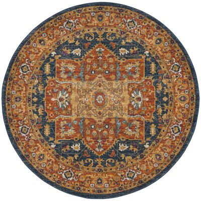 Battista Blue/Orange Area Rug Rug Size: Round 51