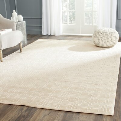 Fogg Tibetan Hand Knotted Ivory/White Area Rug Rug Size: Rectangle 6 x 9