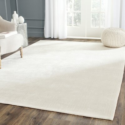 Fogg Tibetan Hand Knotted Ivory Area Rug Rug Size: Rectangle 6 x 9
