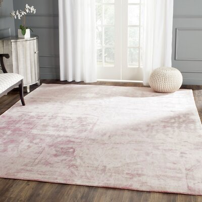Whorton Hand Loomed Wool Pink Area Rug