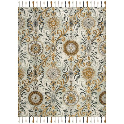 Tomo Hand-Hooked Wool Light Green/Ivory Area Rug Rug Size: Rectangle 8' x 10'