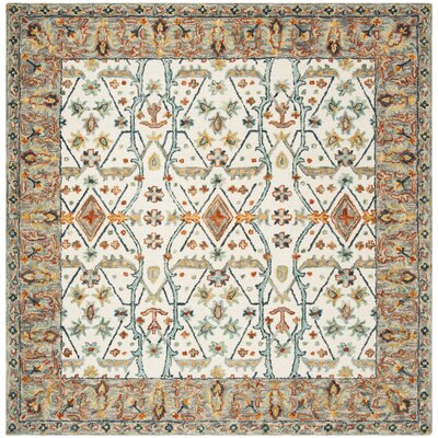 Garvin Hand-Tufted Wool Ivory/Blue Area Rug Rug Size: Runner 23 x 7