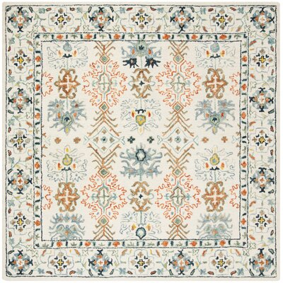 Garvin Hand-Tufted Wool Ivory/Blue Area Rug Rug Size: Square 7