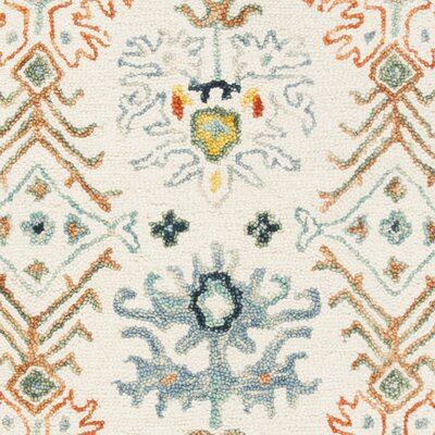 Garvin Hand-Tufted Wool Ivory/Blue Area Rug Rug Size: Rectangle 9 x 12